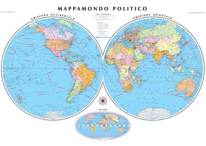 Mappa Mondo Cartina.Cartina Planisfero Politico Mappamondo Cm 138x98 Riferimento 53